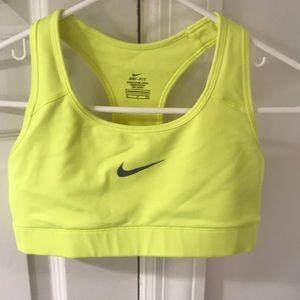 Neon yellow Nike sports bra